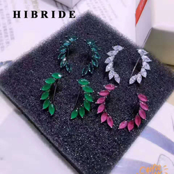 HIBRIDE New Design Colorful CZ Women Stud Earrings Cuff  Green Leaf  Shape Stone Earring Boucle D'oreille Pendientes Mujer E-409