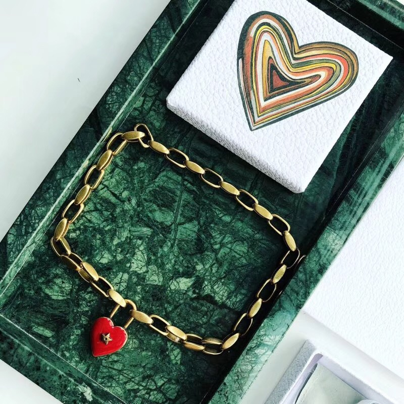 Vintage Famous Brand Fashion Jewelry For Women Gold Thick Chain red heart Neckalce love Star Lock Necklace Bronze star choker цена и фото