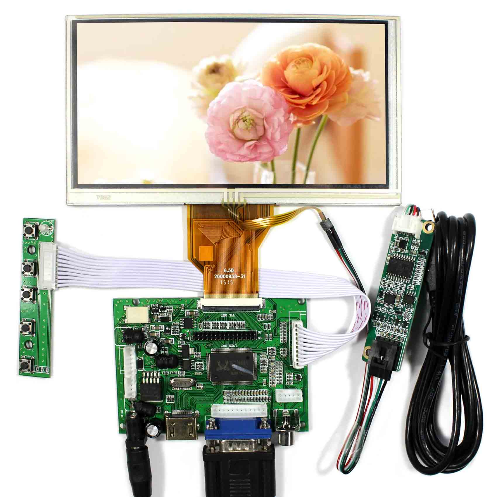 все цены на HDMI+VGA+2AV Controller Board VS-TY2662-V1 + 6.5inch 800x480 AT065TN14 LCD Touch Screen онлайн