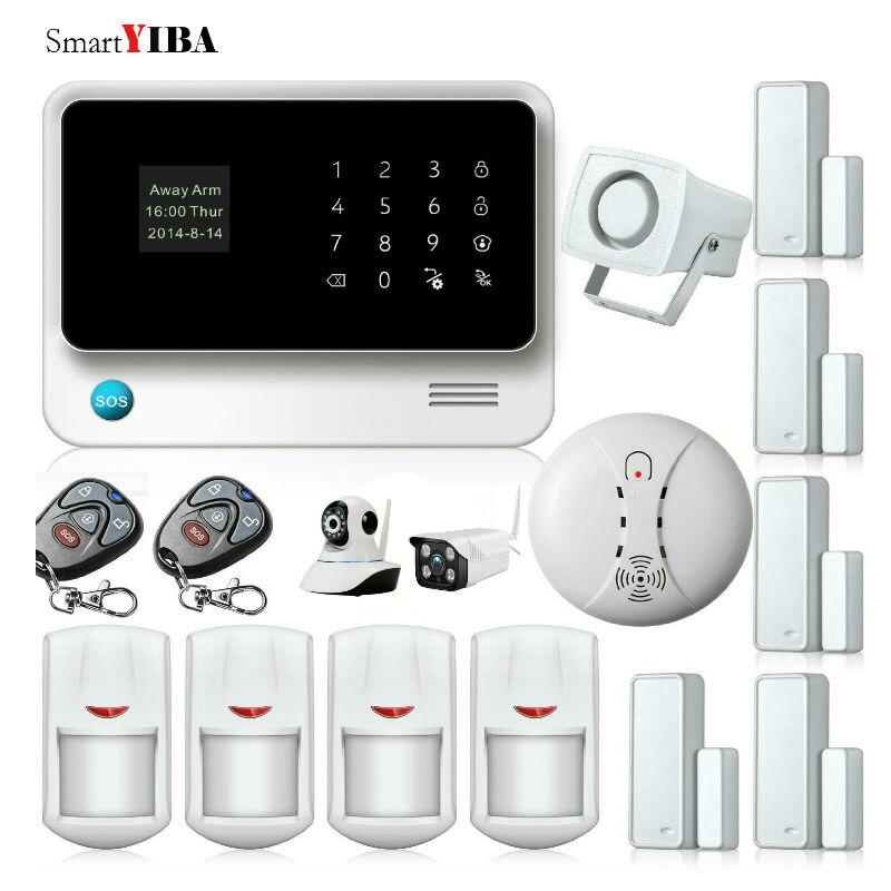 SmartYIBA WIFI GSM Alarm APP Control Wireless Home alarm Security System+Outdoor/Indoor Network Camera+Smoke/Fire Alarm цены онлайн