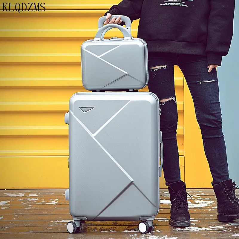 KLQDZMS 20/22/24/26/28inch Retro Rolling Luggage Sets Trolley Case With Cosmetic Bag Fashion Travel Suitcase On Wheels