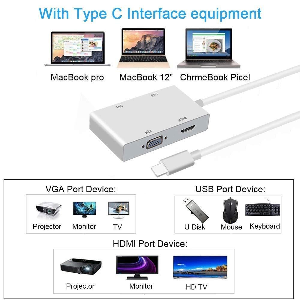 Type C to HDMI TV VGA DVI USB 3.0 Video Adapter for Macbook Mac Chromebook Pixel