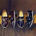 Dar de presente ~~ crianças shoes pu de couro macio crianças casuais borlas shoes 2016 primavera outono lazer slip-on crianças britânico marca shoes