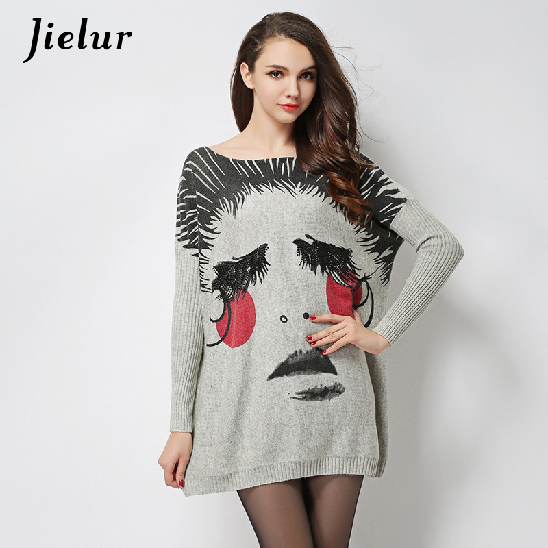 Autumn Europe Fashion Sweater for Women Cute Funny Cartoon Printed Knitted Sweaters Plus Size Loose Pullover Women's Clothing