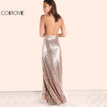 COLROVIE Rose Gold Sequin Long A Line Dress