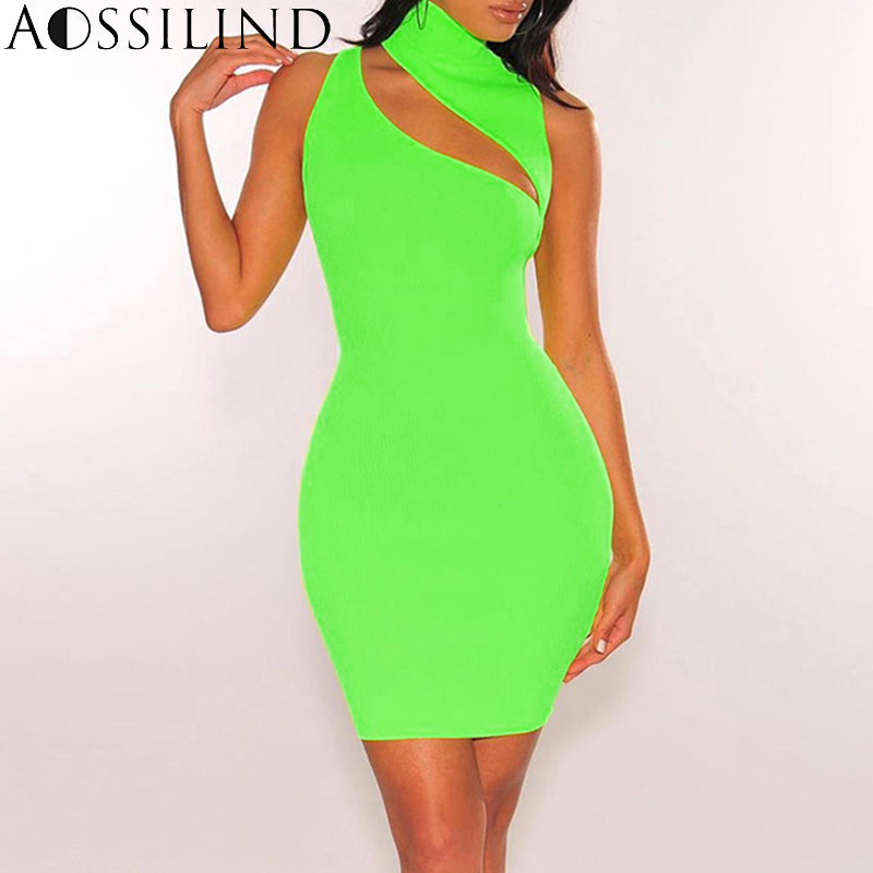 AOSSILIND Neon Green High Neck Bodycon Dress 2019 Spring Summer Women Hollow Out Sleeveless Mini Dress Party Clubwear in Dresses from Women 39 s Clothing