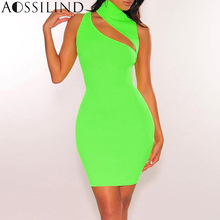 AOSSILIND Neon Green High Neck Bodycon Dress 2019 Spring Summer Women Hollow Out Sleeveless Mini Party Clubwear