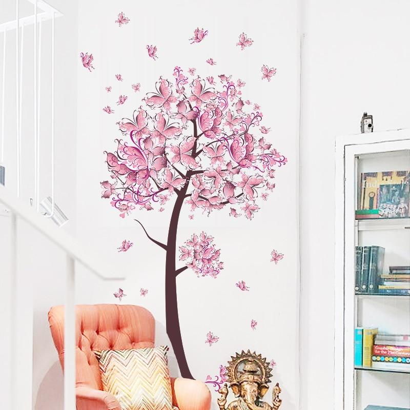 Pink Butterfly Flower Tree Wall Stickers Decals Girls Women Flower Mural Vinyl Wallpaper Home Living Room Bedroom Decor