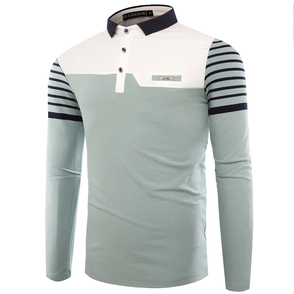 Mens Polo Shirt 2018 Autumn New Korean Version Striped Patchwork Long Sleeve Slim Shirts Cotton