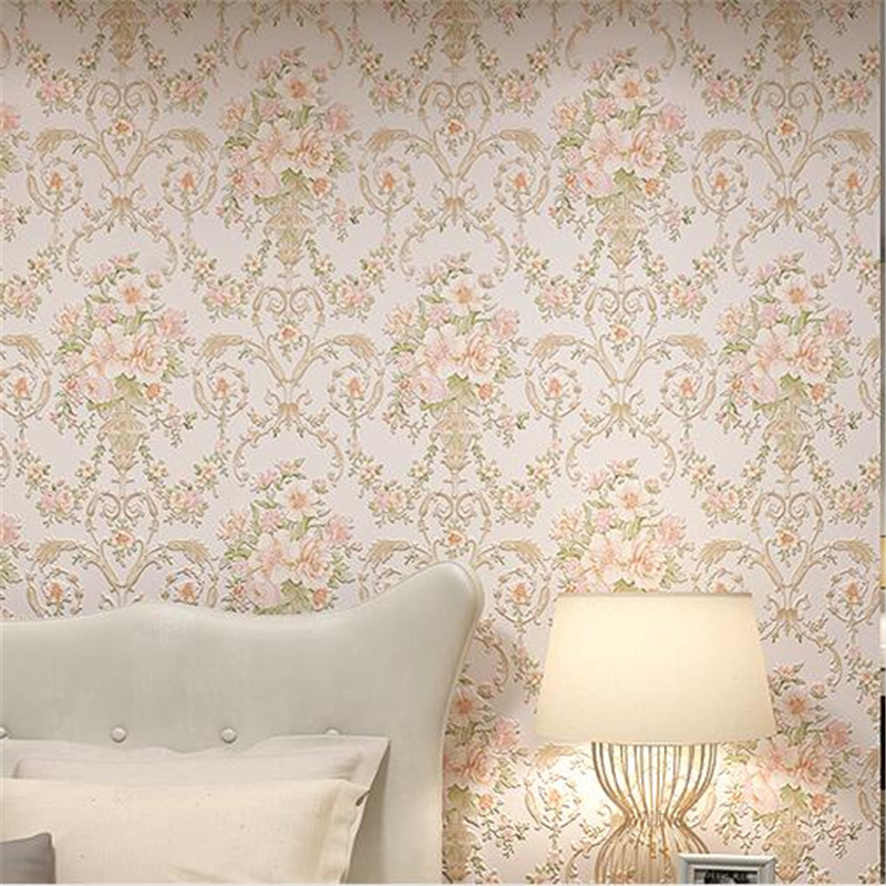 beibehang  three dimensional rural non woven wallpaper bedroom living room TV background  warm romantic large flower wallpaper цена