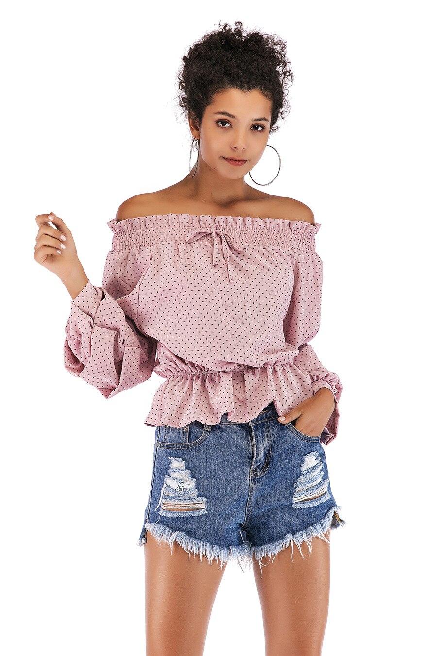 Gladiolus Chiffon Blouse Women 2019 Spring Autumn Long Sleeve Polka Dot Off Shoulder Sexy Blouses Women Shirts Ruffles Blusas (29)