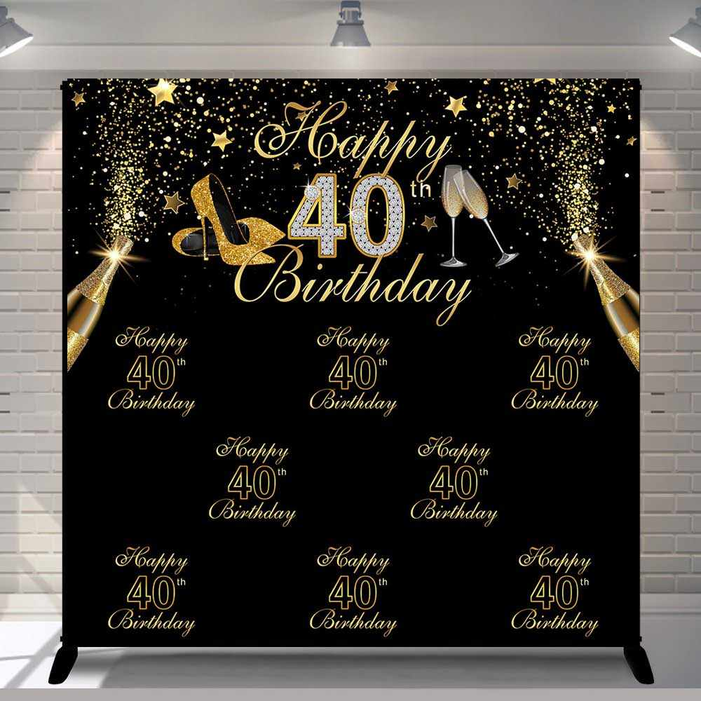 Vinyl Photography Background Gold Black Glitter Adult Luxury Lady 40th Birthday Party High Heels Decor Backdrop Photo Studio