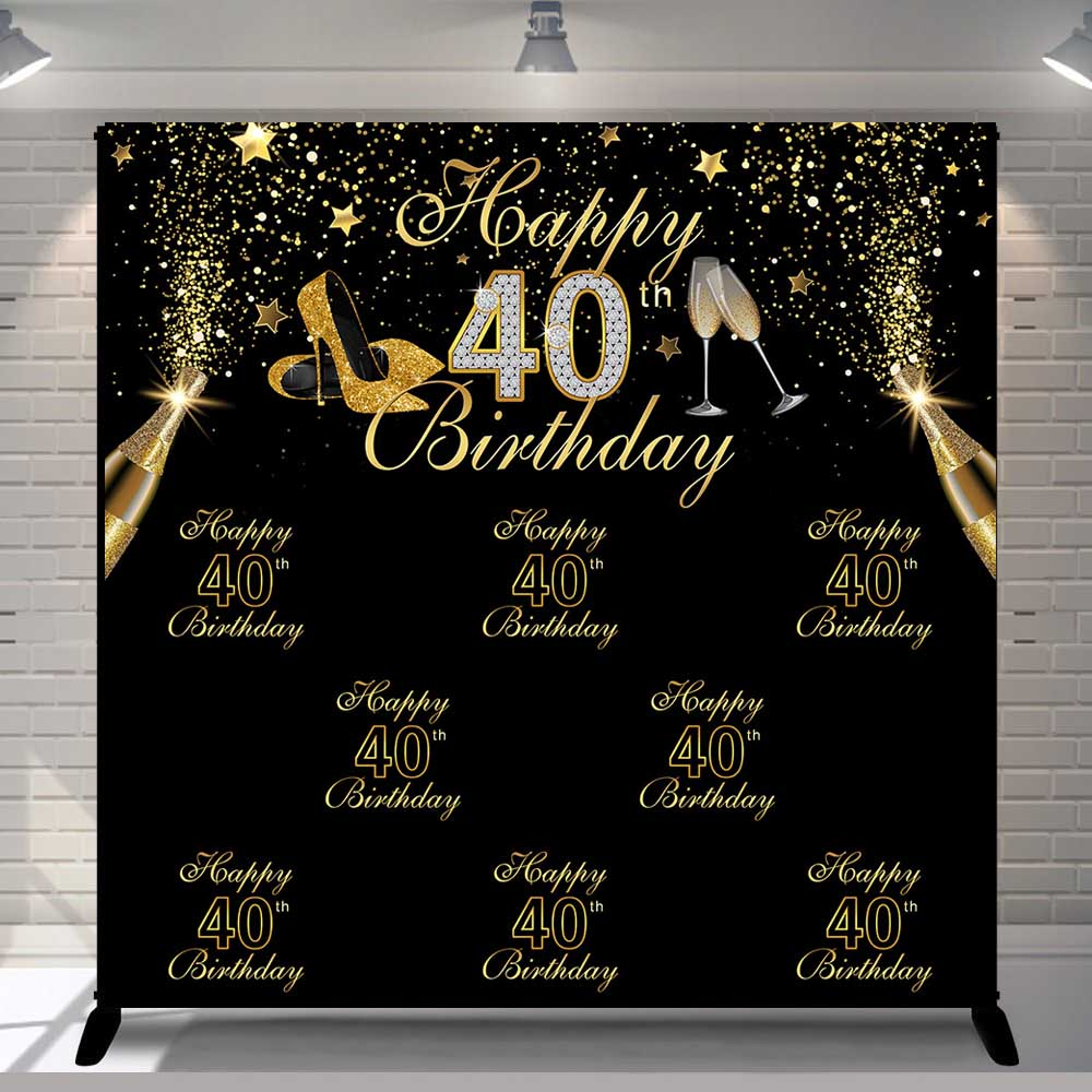 Vinyl Photography Background Gold Black Glitter Adult Luxury Lady <font><b>40th</b></font> <font><b>Birthday</b></font> Party High Heels Decor <font><b>Backdrop</b></font> Photo Studio image