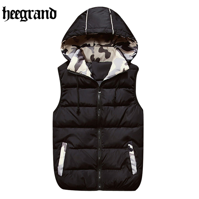 HEE GRAND New Mens Jacket Sleeveless veste homme Winter Fashion Casual Coats Male Hooded Male Vest MWB262