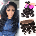 7A Brazilian Virgin Hair 3 Bundles With Lace Frontal Closure 100% Human Hair Weave Ear to Ear Lace Frontal Closure With Bundles