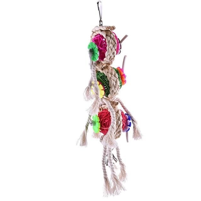Bird Toys Parrot Toys Swing Parrot Cage Ball Hanging Cockatiel Parakeet Pet Bird Bites Climb Chew Toys