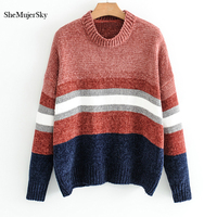 SheMujerSky Winter Women Sweaters And Pullovers Splice Color O Neck Knitted Sweater Swetry Damskie 2017
