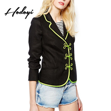 Hodoyi Vintage Metal Button Preppy Style Short Blazer Solid Black Patchwork Women Coat Autumn Polo Collar Kawaii Blazer Jacket