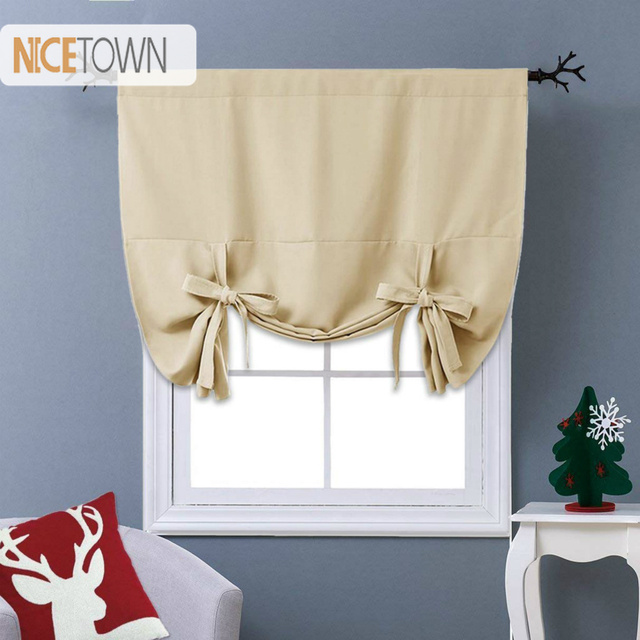 Nicetown Fashion Blackout Curtain Tie Up Thermal Insulated Shade For