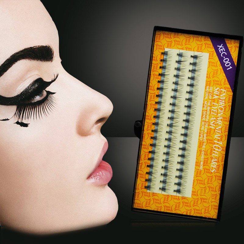 Imported 3 Strips / Pack Жібек қара Fake Eyelashes C Curl - Макияж - фото 2