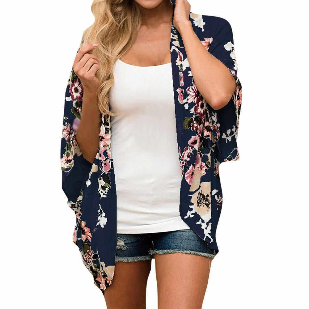 Yeni moda Kadın Şifon Çiçek Kimono Gevşek Rahat Yarım Kollu Şal Baskı Hırka blusas mujer de moda #20181013 artı boyutu