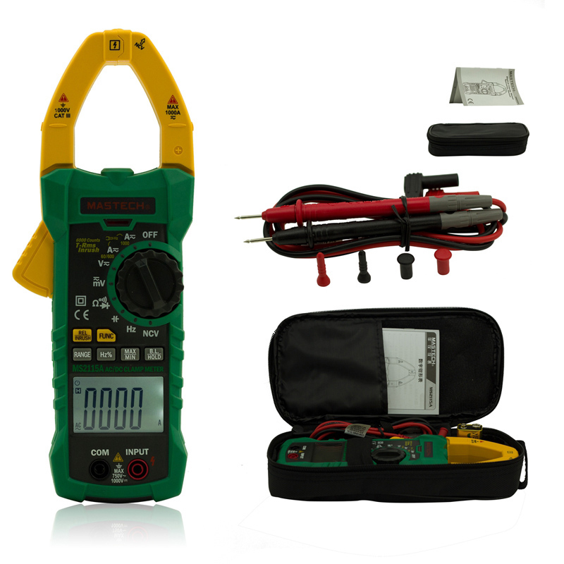 1pcs MASTECH MS2115A True RMS Digital Clamp Meter Multimeter Voltage Current Resistance Capacitance Tester