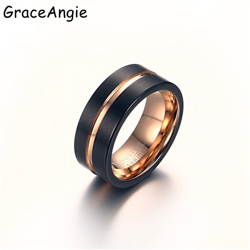 GraceAngie Top Male Black and rose gold Tungsten steel Ring Wedding Band 8MM Tungsten Carbide Rings for Men Jewelry Dropshipping tungsten carbide steel ring with wire drawing application