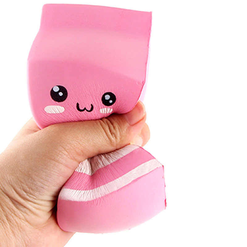 Kawaii Cute Soft Squishy Charms Milk Bag Toy Slow Rising for Children Adults Relieves Stress Anxiety Cabinet Decor