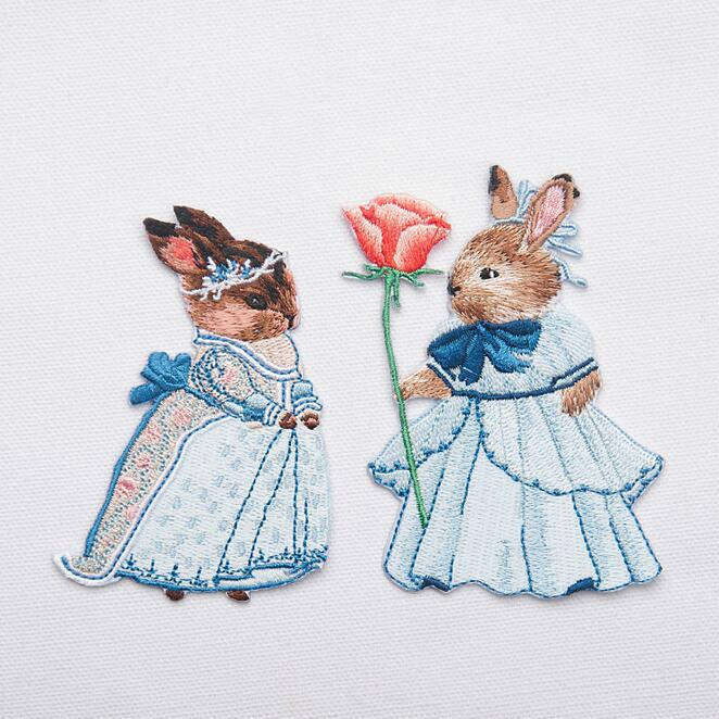Embroidered Rabbit Bunny Patch for Clothing Iron on Applique Clothes - Arts, Crafts and Sewing - Photo 1