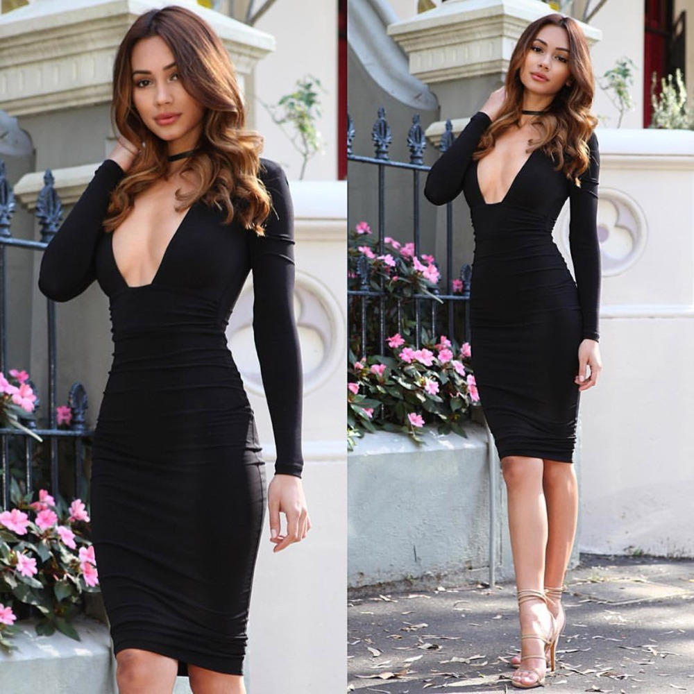 2017 Sexy Black Deep V Neck Bodycon Kim Kardashian Dress For Sex Night Clubwear Party -5107