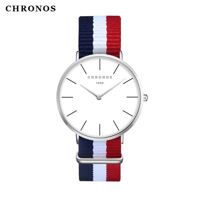 BEST SELLER CHRONOS Stripe Watch Men's Women Fashion Nylon Casual Sport Quartz W