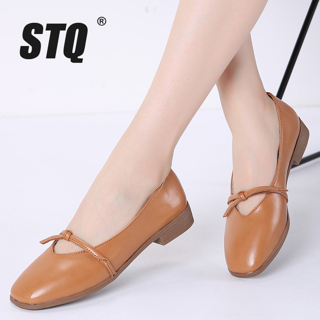 STQ 2020 Autumn Women Ballerina Flats Genuine Leather Shoes Slip On Loafers Women Flats Woman Grandmother Loafers Shoes 1901