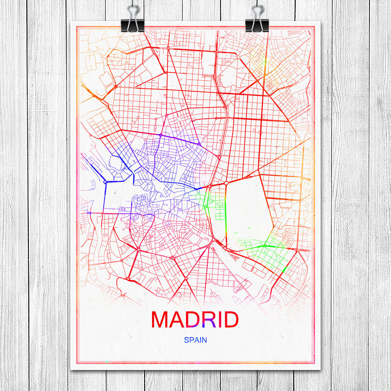 Map Of Spain To Print.Us 1 99 Famous Colorful World City Map Madrid Spain Print Poster Abstract Coated Paper Bar Cafe Living Room Home Decoration Wall Sticker In Wall