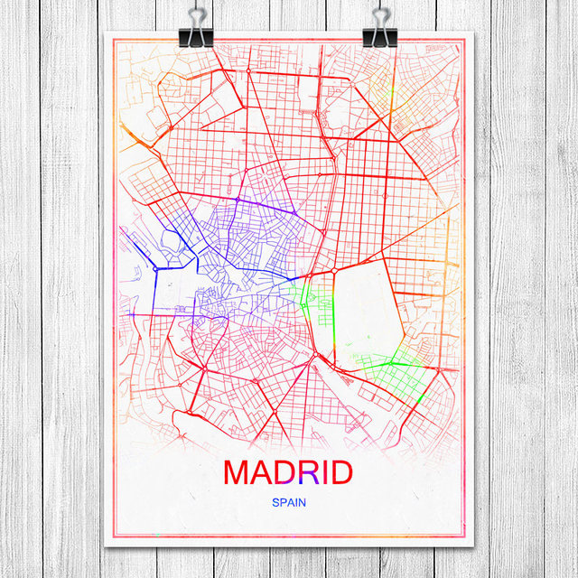 Famous Colorful World City Map Madrid Spain Print Poster Abstract ...