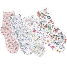 Calcetines cortos con flores para mujer, calcetín estampado 3D, algodón, elegante, 5 pares