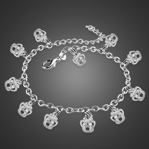Fashion lady anklets.Lovely anklets woman solid 925 silver.Silver crown pendant anklets real sterling silver foot chain present
