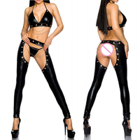 Plus Size PU Leather Rivet Chain Exotic Halter Bar Sets Open Crotch Sexy Lingerie Trousers Cosplay Uniform Halloween Costume 2XL