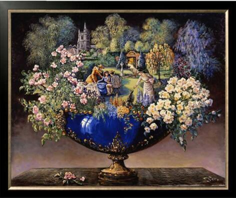 Personnes, fleur, arbre vase aiguilles, bricolage DMC 14CT non imprimé point de croix, Kits de broderie, broderie compté, décoration murale maison à la main