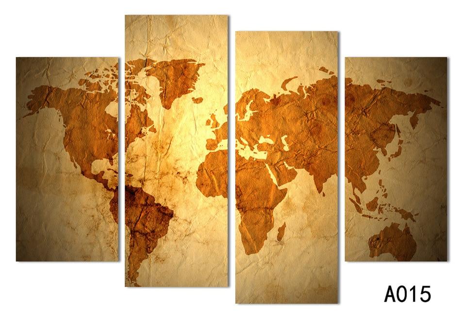 4 πίνακες Αντίκες χρυσό χάρτη cnavas - Διακόσμηση σπιτιού - Φωτογραφία 3