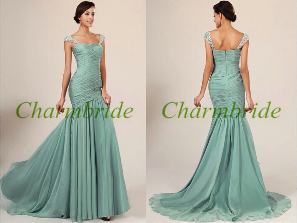 Long chiffon bridesmaid dresses with beaded straps elegant for Elegant wedding party dresses