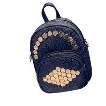 Модные женские туфли кожаный рюкзак женский школьные сумки для девочек-подростков с заклепками в стиле панк одноцветное Цвет дорожная сумка рюкзаки