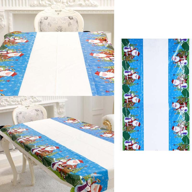 Christmas Tablecloth Cartoon Pattern Printing PVC Table Cover Christmas Decoration for Home Party Banquet