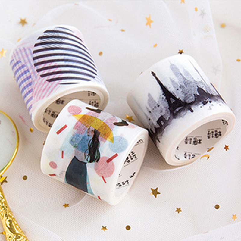 4cm*5m Ink city Pure girl washi tape DIY decoration scrapbooking planner masking tape adhesive tape label sticker stationery 1 5cm 8m colorful flag washi tape diy decoration scrapbooking planner masking tape adhesive tape label sticker stationery