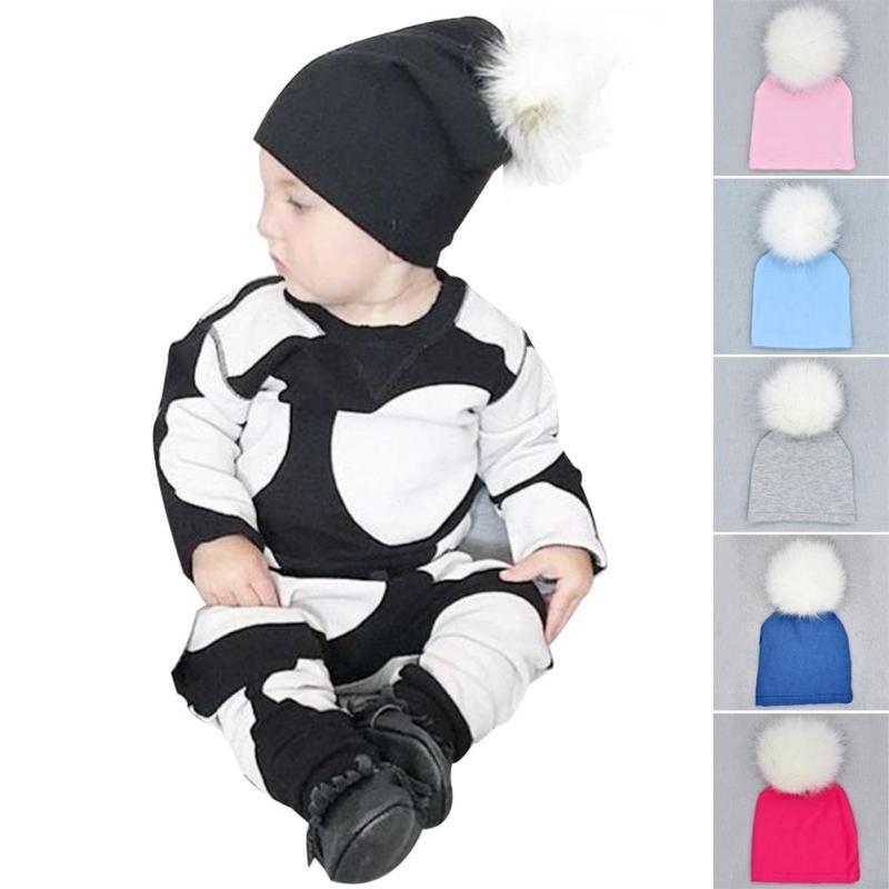 Warm Baby Hat Newborn boys Girls Cotton Beanie Cap Fur Ball Pompom Infant Spring Hat Beanies Children Accessories chapeau D2