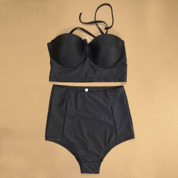 2017 New High Waist Bikini жиынтығы Black 2XL Swimsuit Swimwear жоғары сапалы материал