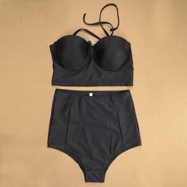 2017 New High Waist Bikini Set Black  2XL Swimsuit Swimwear High Quality Material