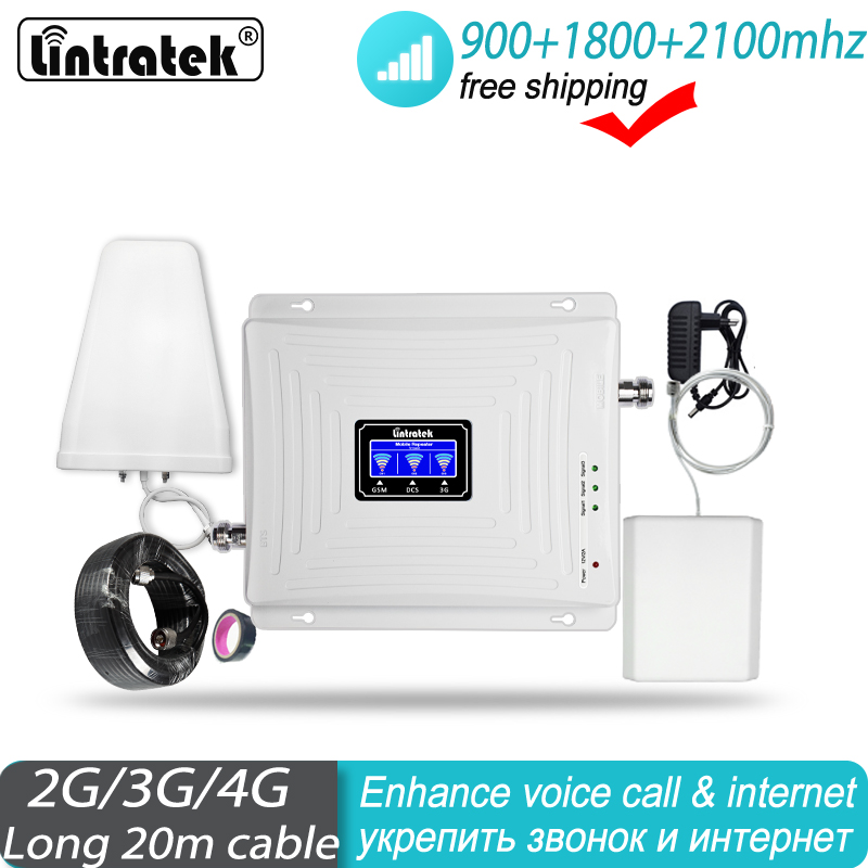 2g 3g 4g Signal Booster 900 1800 2100 Repeater Tri Band GSM WCDMA UMTS LTE Cellular Repeater 900/1800/2100mhz Amplifier#20