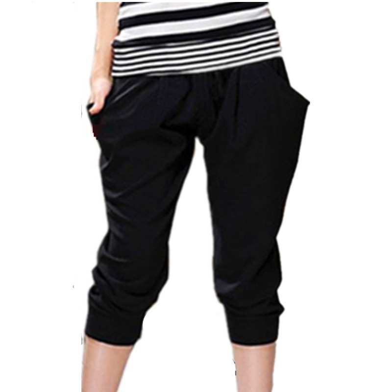 <font><b>Women's</b></font> Soft Milk Silk Stretch Breeches Pants <font><b>Plus</b></font> <font><b>Size</b></font> 6XL <font><b>7Xl</b></font> 8XL Summer Capri Calf Length Trousers Mom image