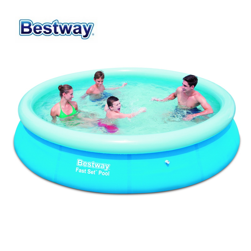 57273 Bestway 366x76cm (12'x30) FAST SET POOL REENGINEED with Filter Inflatable Top-ring Pool SUPER COMPACT EASY TO ASSEMBLE commercial sea inflatable blue water slide with pool and arch for kids
