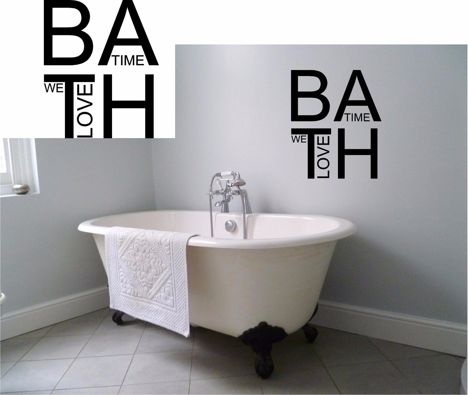 We Love Bathtime Bathroom Wall Decal Cute Funny Room Bath Vinyl Sticker ...